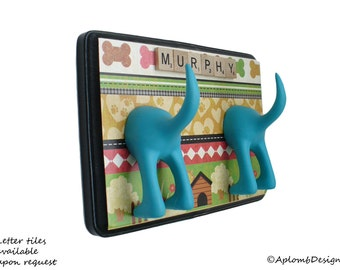 Leash Hanger - Double Tail - The Dog House - Personalize with Optional Letter Tiles