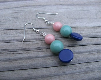 Blue, Seafoam, Coral Pink- Beaded Earrings