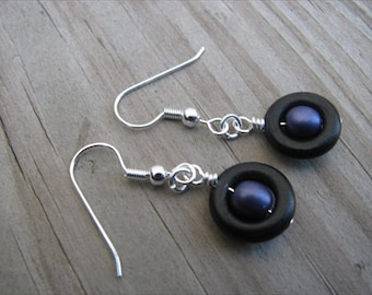 Purple and Black- Beaded Earrings- Wood and Glass