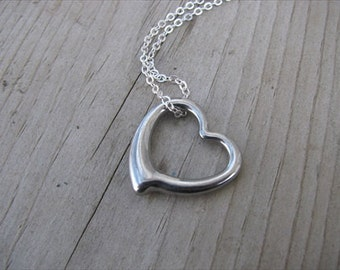 Heart Necklace- Antique Silver - Great mother's necklace