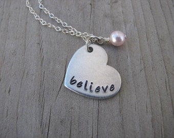 """Brushed Silver Heart Necklace- Hand-Stamped with """"believe""""- Hand Stamped Necklace- and an accent bead in your choice of colors"""