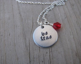"""Be True Necklace- Inspiration Necklace- Hand-Stamped Necklace- """"be true"""" with an accent bead in your choice of colors- Hand-Stamped Jewelry"""