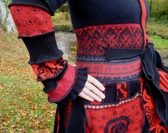 Diva - Gypsy sweater coat from recycled sweaters by SpiralGypsy Size S/M  READY TO SHIP