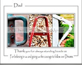 Alphabet Photography, DADs GiFT for Christmas, Letter Photos, Father's Gift