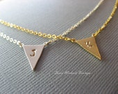 Personalized Initial Triangle Necklace - Dainty Geometric Choker - Layering Necklace