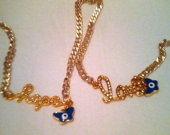 Gold chain necklace / logo made to order / love, hope