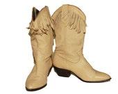 80s Acme Tan Fringe Cowboy Boots Size 8