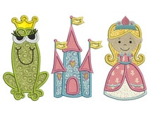 PRINCESS 1 - Machine Applique Embroidery - 3 Patterns in 3 Sizes - Instant Digital Download
