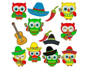 Cinco De Mayo Owls - Machine Applique Embroidery - Instant Digital Download