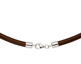 """5mm Brown Leather Cord Necklace with 925 Sterling Silver Clasp 14"""" inches - 36"""" inches, You choose length. LCR0500BRNS"""