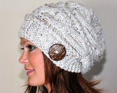 Slouchy Beanie Slouchy Hat Cable Button Hat Hand Knit Winter Women Hat CHOOSE COLOR Wheat White Fall Chunky Christmas Gift