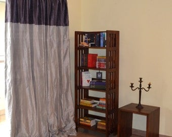 Silver and Plum Silk Drapes / Curtains with blackout lining in pure Dupioni Silk Fabric
