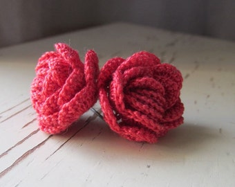 Raspberry Rose Crocheted Earrings