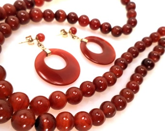 Vintage 14K and Carnelian Agate Bead Necklace Post Earrings Set 14K Gold Fittings