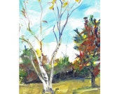 Original acrylic landscape painting 7x5 Birch Trees in Early Autumn