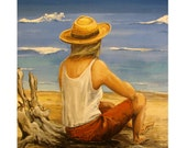 Woman Alone on the beach, wearing Hat, Wave after wave, Original illustration Artist Print Wall Art, Free Shipping in USA.