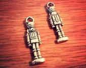 Nutcracker Charms Pendants Antiqued Silver Christmas Charms Nutcrackers 10 pieces 27mm