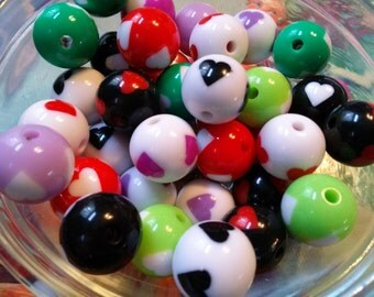 Large Acrylic Beads BUBBLEGUM Beads 16mm Heart Beads Assorted Colors Big Beads