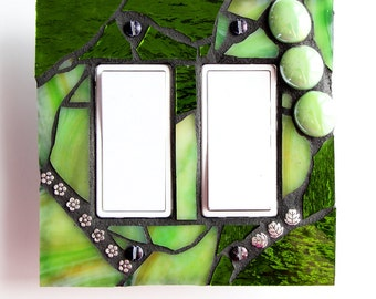 Citrus Green -  Double Rocker / duplex GFCI Mosaic Light Switch Cover Wall Plate - Midway Size