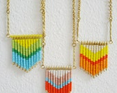 Chevron - Native inspired chevron tribal ethnic fringe beads charm necklace
