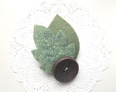 Felt Leaf Brooch in Two Shades of Green Hand Cut and Hand Sewn Autumn Accessory