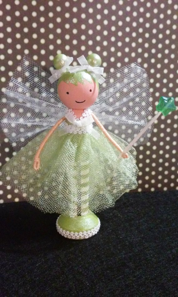 Green Fairy Miniature Wooden Clothespin Doll