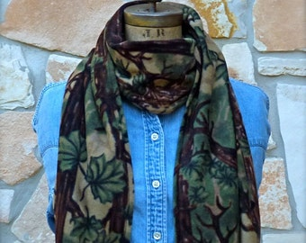 Camo Fleece Scarf, Camouflage Fleece Scarf, Boys Fleece Scarf, Woodland Fleece Scarf, Mens Fleece Scarf, Winter Scarf, Ladies Fleece Scarf