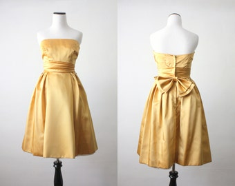 1950's dress - golden satin party dress