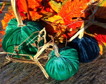 3 Hand Dyed Silk Velvet Pumpkins with real Dried Pumpkin Stems and 7 Silk Velvet Acorns with Real Shells- #207