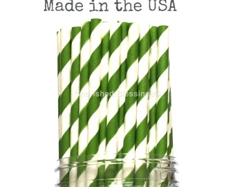 25 Green Paper Straws, Striped Drinking Straws, Rustic Vintage Wedding, Baby Shower, Superhero Mine Party, Tractor Party, Made in USA
