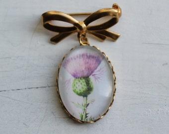 Scottish Thistle Brooch ...  Antique Botanical Print Scottish Pin Badge