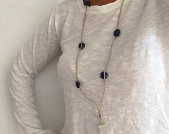 Lapis Boho Necklace, Tribal Necklace, Natural Necklace