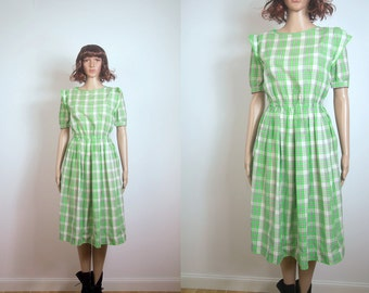 WoozWass Vintage 60s Japanese Checkered Green Dress size S-M
