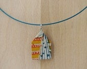 blue orange yellow house necklace lacquered Japanese paper