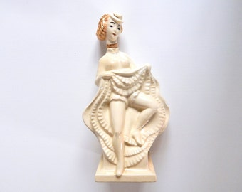 French Vintage CanCan Dancer Bottle in Porcelain