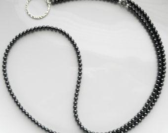 Essential Black Swarovski Pearl Eyeglass Lanyard - Eyeglass Necklace - Glasses Holder - Eyewear Accessories - Charcoal Reading Glasses Chain