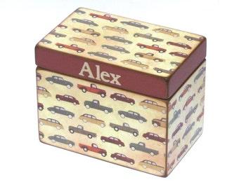 Treasure Box Wood Keepsake Box - Vintage Cars and Trucks - Personalized