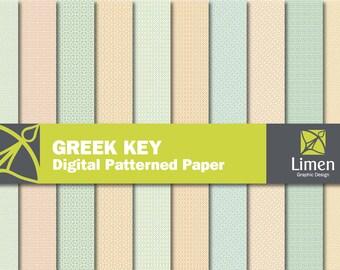 Greek Key Digital Paper Pack, Greek Key Paper, Meanders Digital Paper, Greek Key Pattern, Greek Key Background, Geometric Pattern