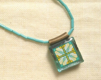 Necklace Teal Turquoise and Mustard Yellow Gold Tile Design, Spanish, Mexican and Mediterranean Tile Inspired