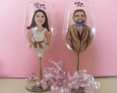 TWO Wedding Portraits Hand Painted Wedding Cartoon Portrait Caricature Prom Anniversary