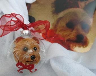 Memorial Ornament Hand Painted  Pet Portrait Animal Portrait Custom  Personalized Cat Dog