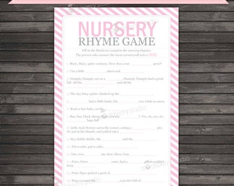 Pink Baby Shower Nursery Rhyme Quiz Printable - Instant Download - Pink Baby Shower Nursery Rhyme Game - Girl Baby Shower Games Activities