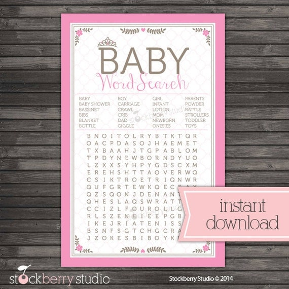 Princess Baby Shower Baby Word Search Printable