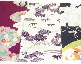 kiku and purple blossoms - 3 pieces of Vintage Kimono Silk Fabric