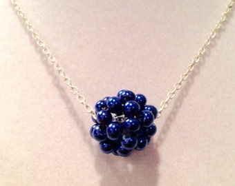 Royal Blue Pearl Cluster Necklace