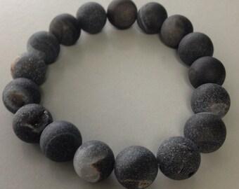 Black Drusy Agate Bracelet 12mm Round Bead Stretch Bracelet Pretty Druzy for Insomnia Dream Work Memory & Protection