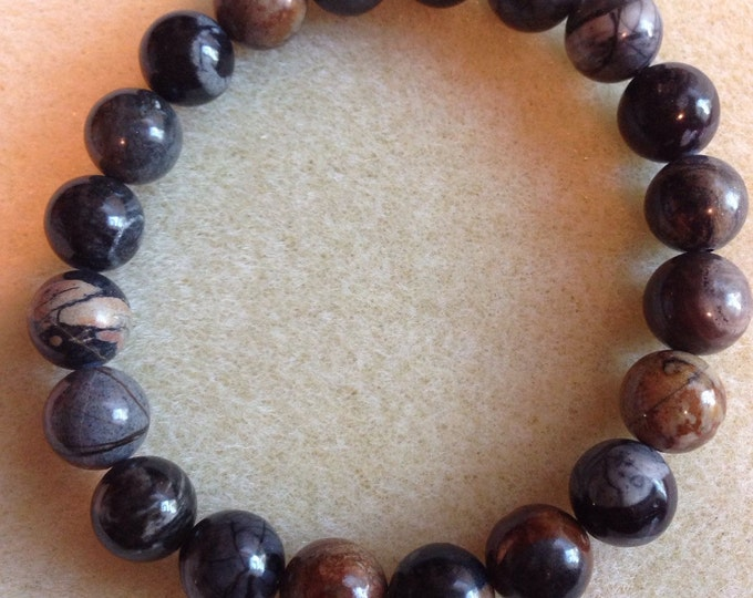 Picasso Jasper 10mm Round Stretch Bead Bracelet