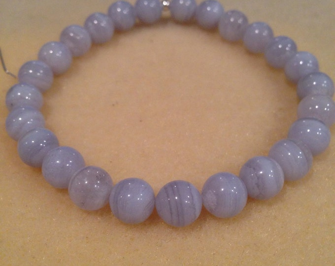 Blue Lace Agate 8mm Round Stretch Bead Bracelet with Sterling Silver Accent