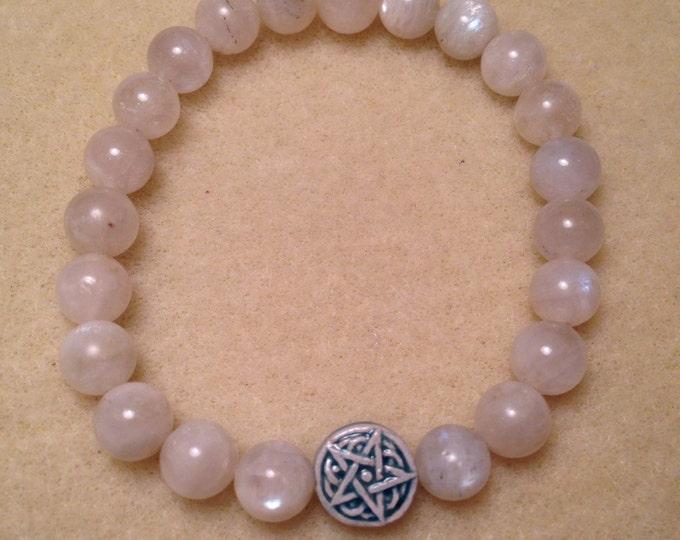 Moonstone Celtic Star Bracelet - Raku Ceramic Pentacle Pentagram Bead & Moonstone 8mm Round Bead Stretch Bracelet