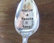 Nutella, Custom Spoon, Handstamped Spoon, Personalized Spoon, Ice Cream Spoon, Gift, Handstamped Ice Cream Spoon, Vintage Silver plate Spoon